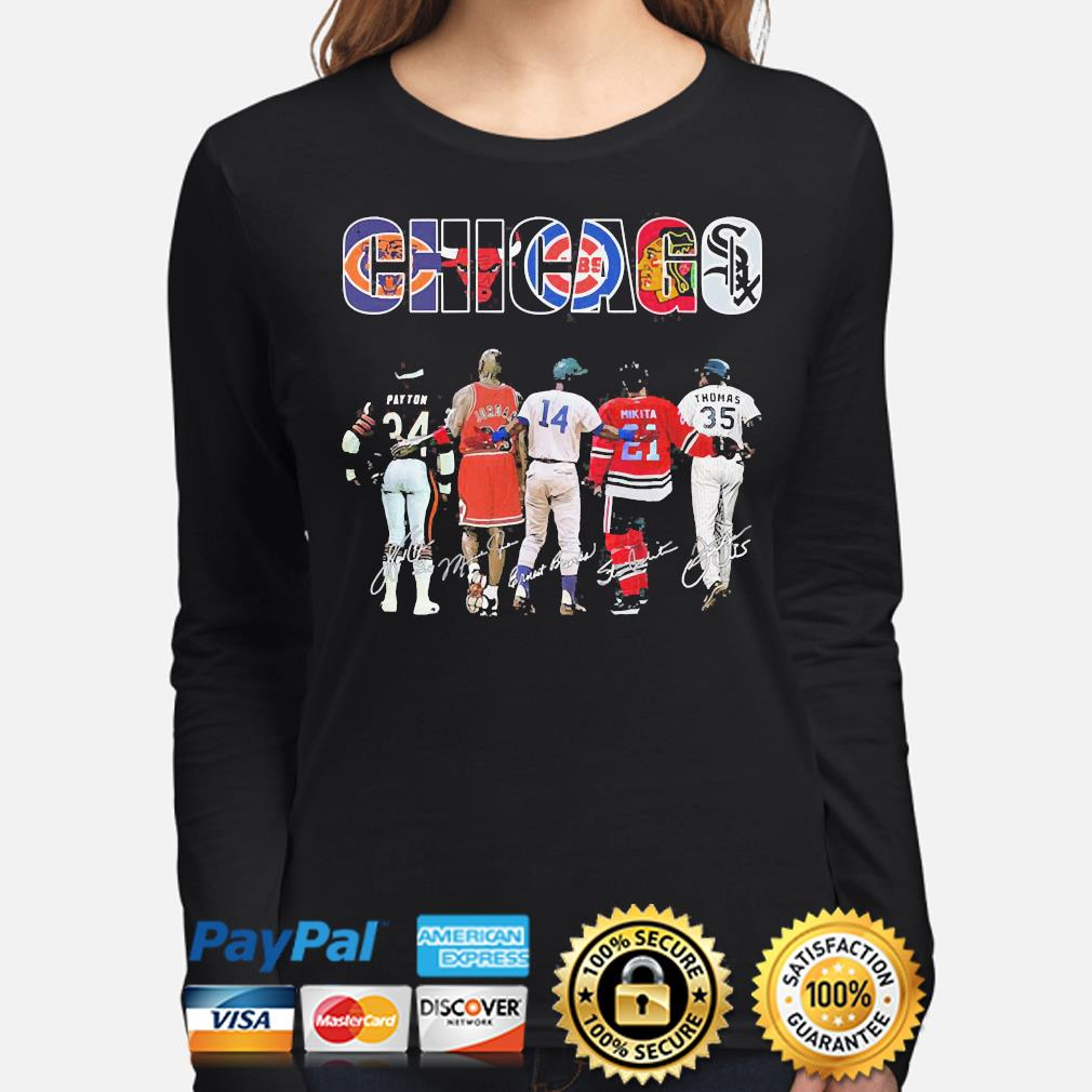 Official Chicago chicago bears chicago bulls chicago cubs payton jordan mikita signatures s long-sleeve