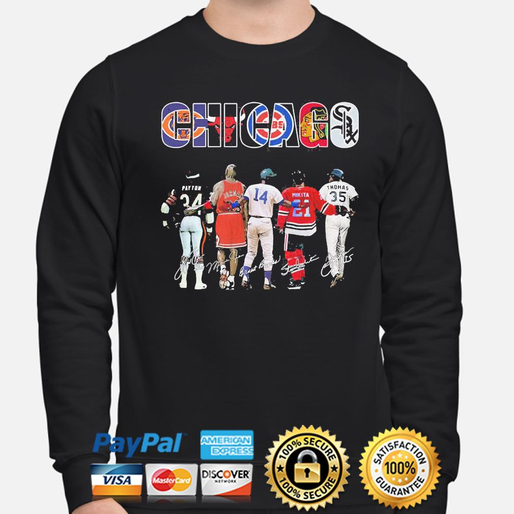 Official Chicago chicago bears chicago bulls chicago cubs payton jordan mikita signatures s sweater