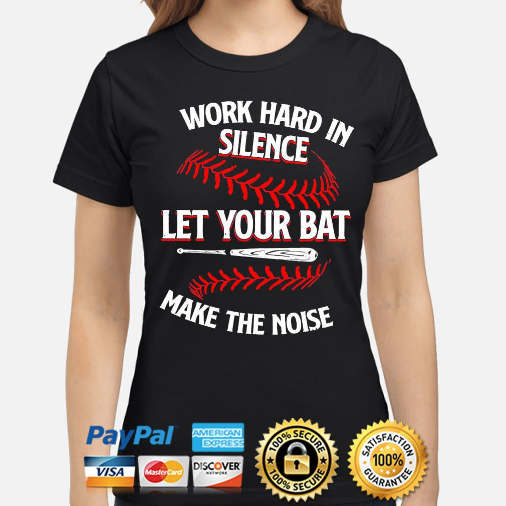 Work hard in silence let your cat make the noise ladies-shirt