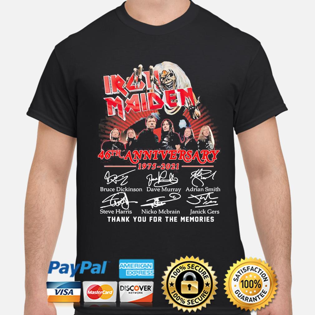 Official Iron Maiden 46th anniversary thank you for the memories signatures shirt