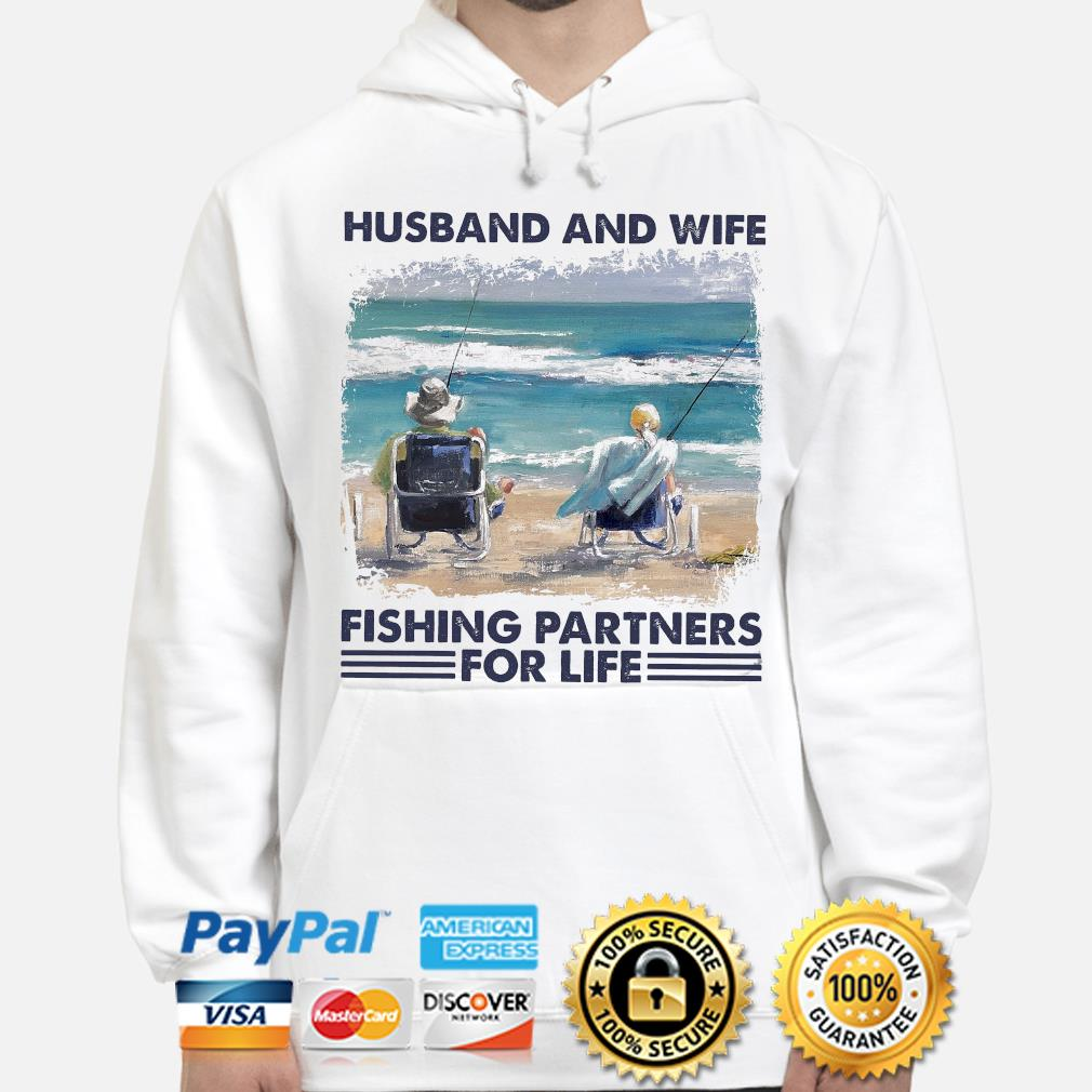 Husband and wife fishing partners for life hoodie