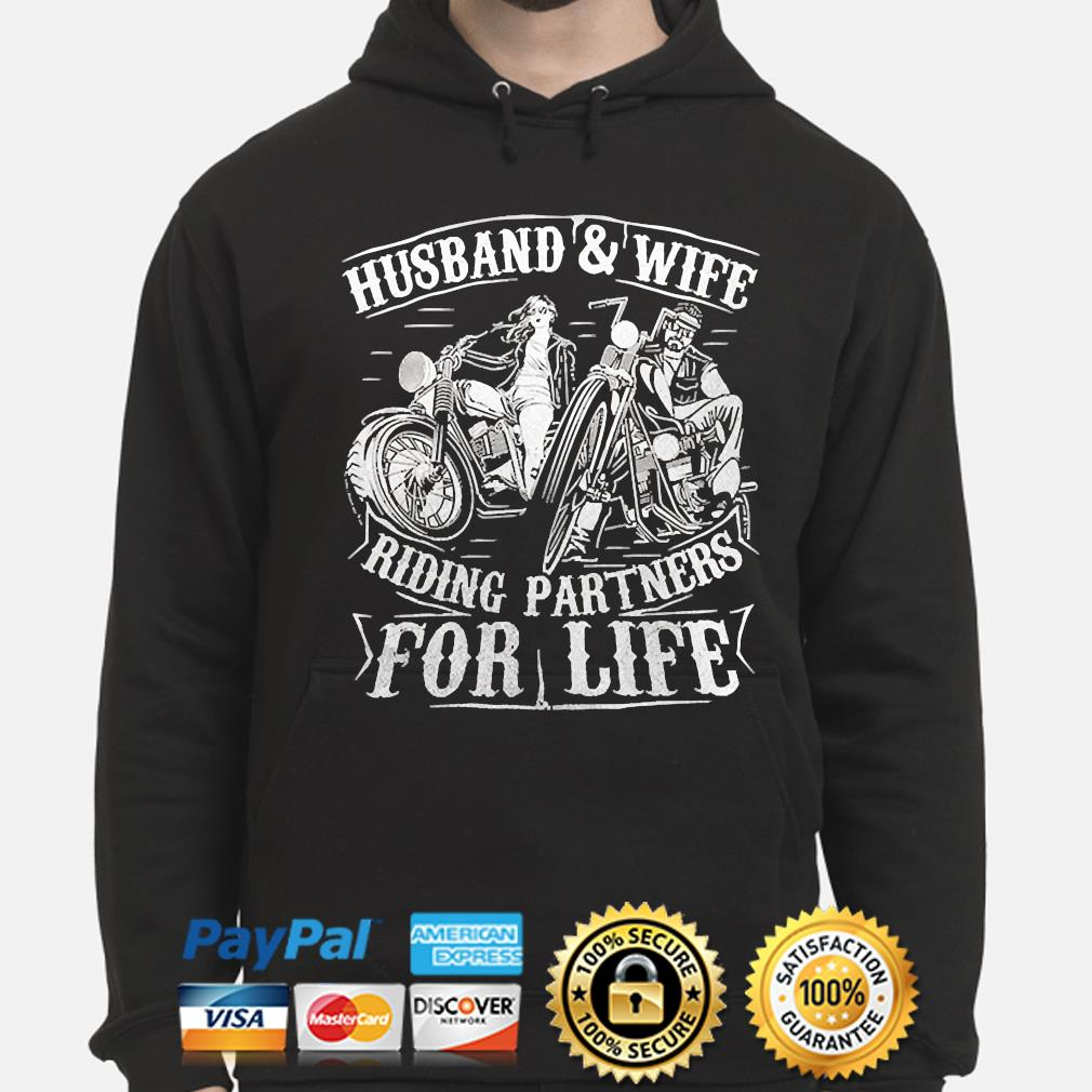 Husband wife riding partners for life matching couple biker hoodie