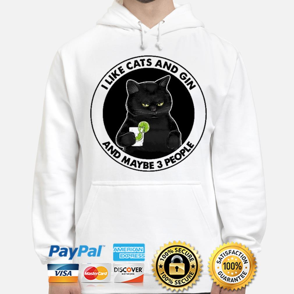 I like cats and gin and maybe 3 people hoodie