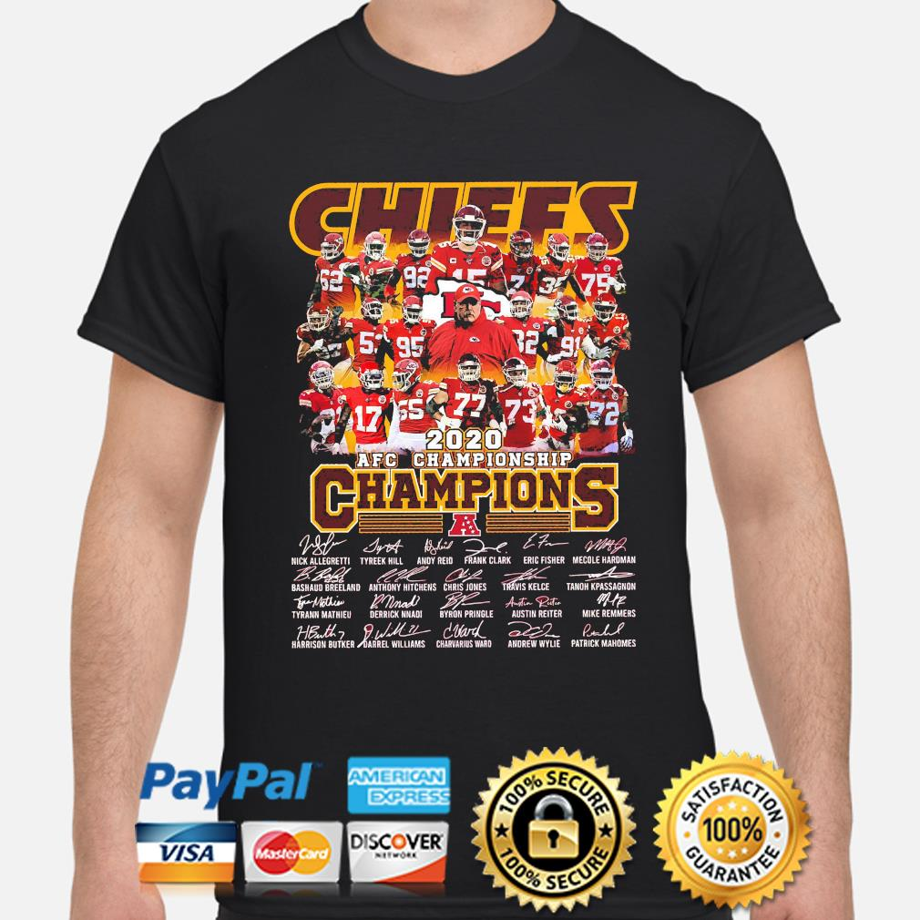 Kansas City Chiefs 2020 afc championship champions signatures shirt