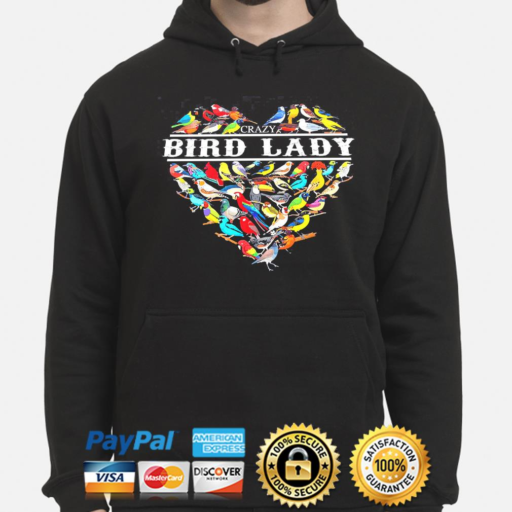 Love crazy bird lady heart hoodie