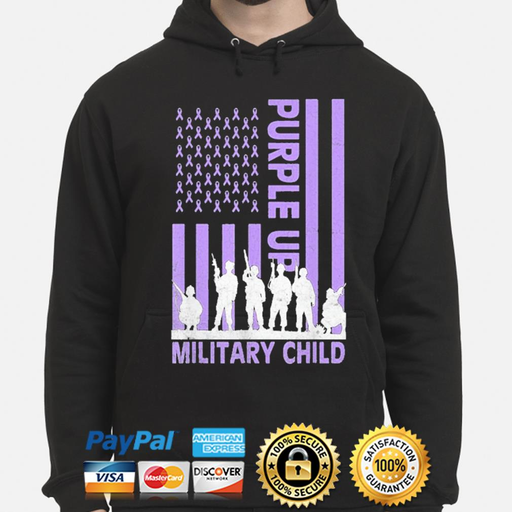 Purple up for military kids military child American flag hoodie