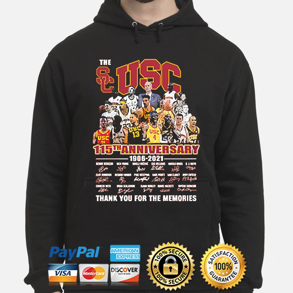 The Usc 115th anniversary thank you for the memories signatures hoodie