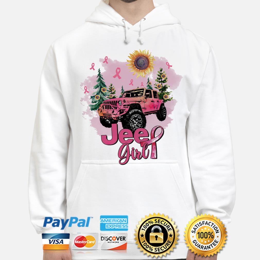 Sunflower and Jeep Girl Breast Cancer s hoodie