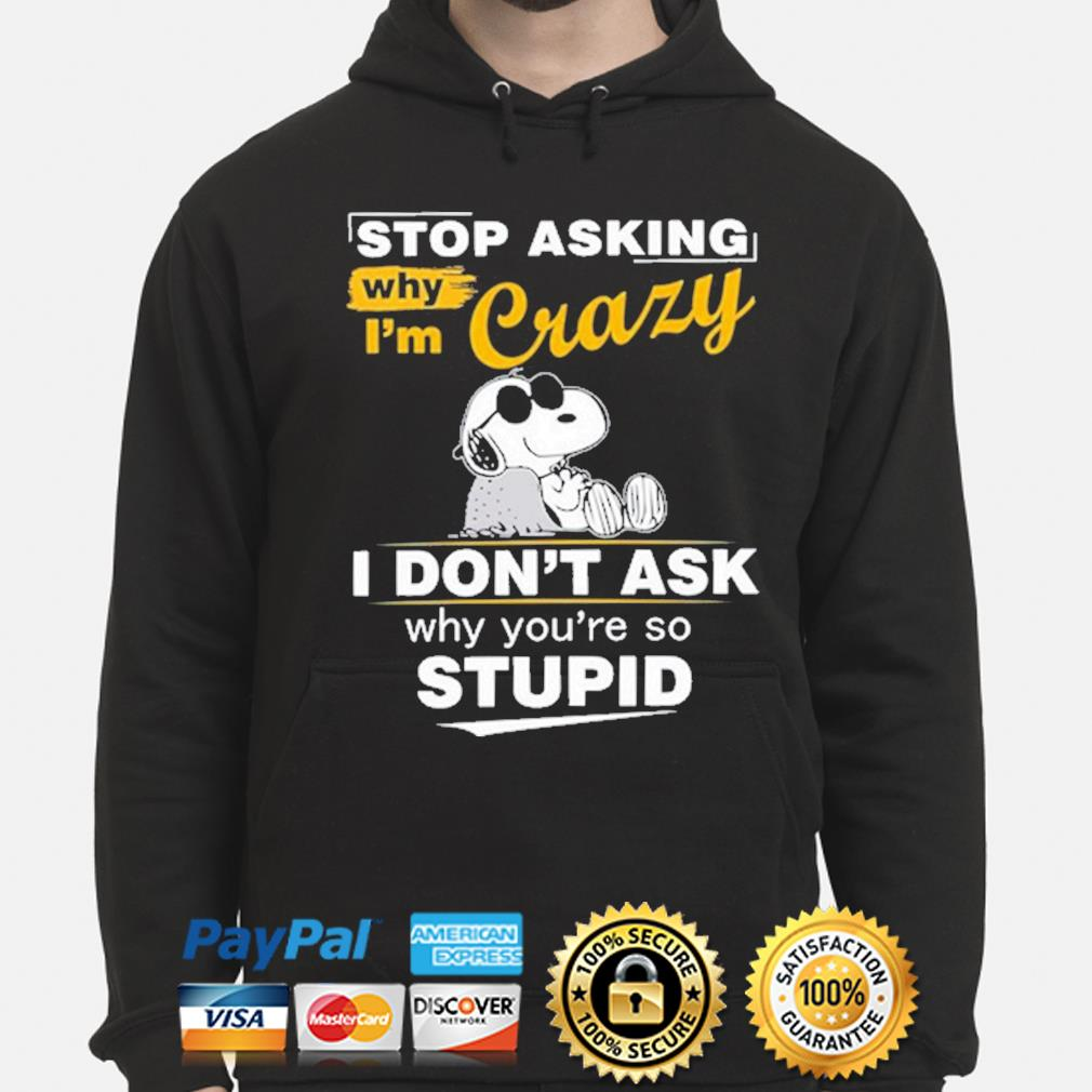 Snoopy stop asking why I'm crazy I don't ask why you're so stupid s hoodie